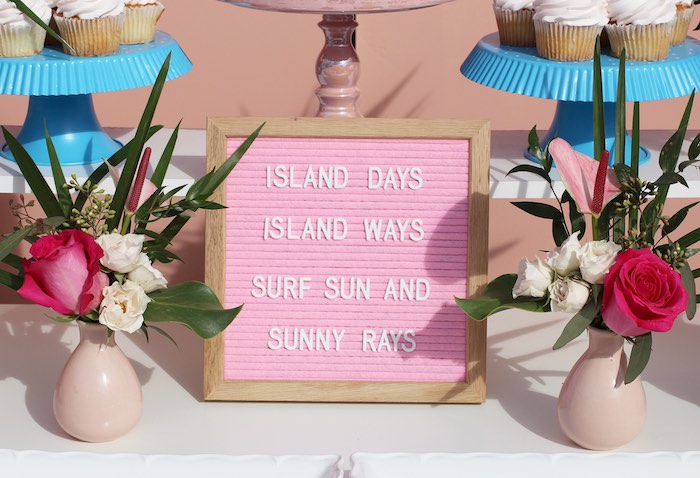 "Letter Board Sign from an ""Aloha ONE"" Tropical 1st Birthday Party on Kara's Party Ideas 