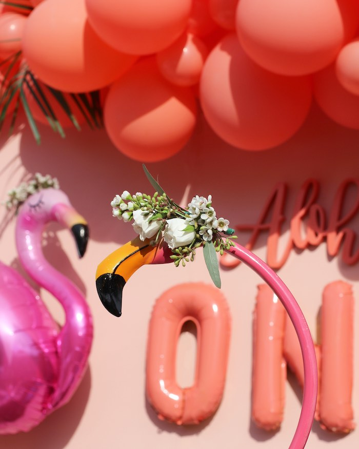 "Floral-topped Flamingo from an ""Aloha ONE"" Tropical 1st Birthday Party on Kara's Party Ideas 