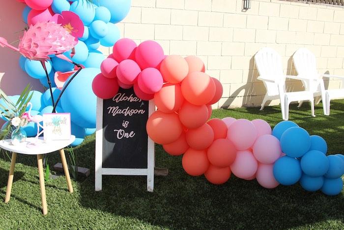 "Chalkboard Sign & Balloon Garland from an ""Aloha ONE"" Tropical 1st Birthday Party on Kara's Party Ideas | KarasPartyIdeas.com (20)"