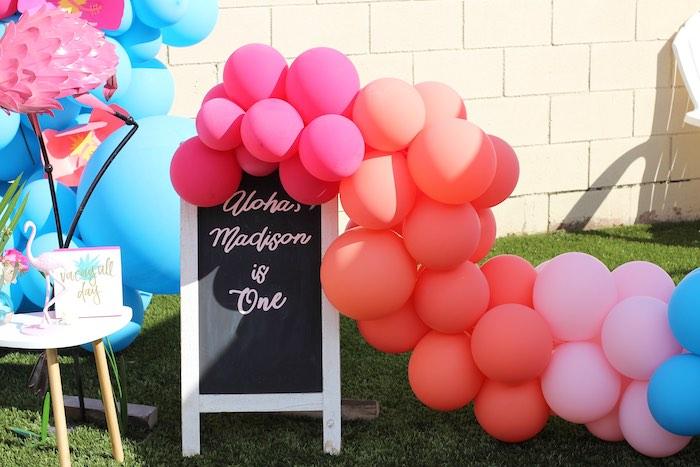 "Chalkboard Sign & Balloon Garland from an ""Aloha ONE"" Tropical 1st Birthday Party on Kara's Party Ideas | KarasPartyIdeas.com (18)"
