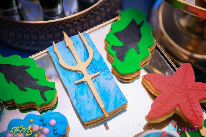 Trident + Under the Sea Cookies from an Aquaman and Princess Mera Birthday Party on Kara's Party Ideas | KarasPartyIdeas.com (38)