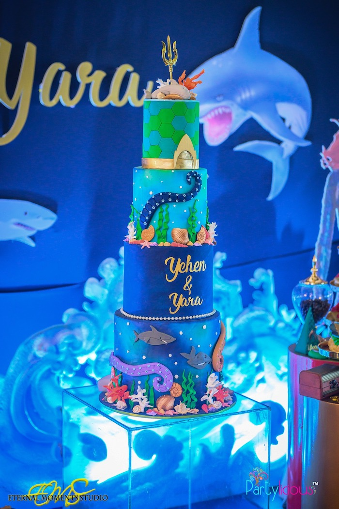 Under the Sea Aquaman Cake from an Aquaman and Princess Mera Birthday Party on Kara's Party Ideas   KarasPartyIdeas.com (32)