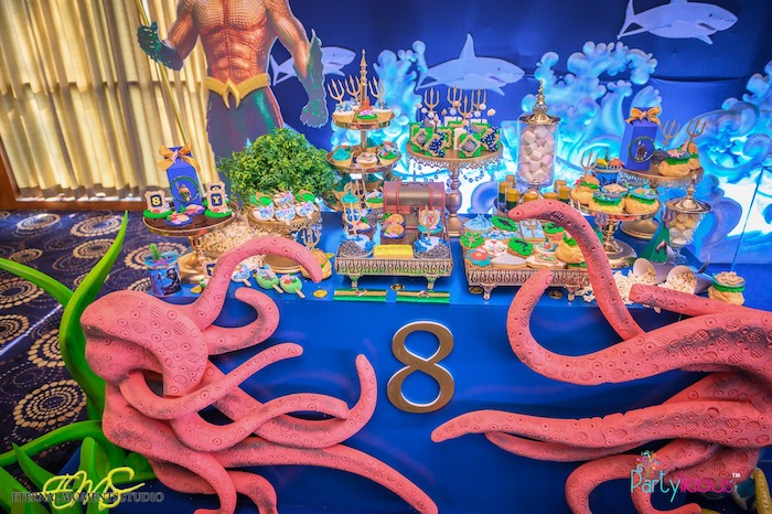 Under the Sea Themed Dessert Table from an Aquaman and Princess Mera Birthday Party on Kara's Party Ideas | KarasPartyIdeas.com (29)
