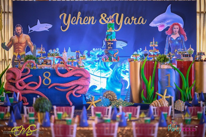 Under the Sea Themed Dessert Table from an Aquaman and Princess Mera Birthday Party on Kara's Party Ideas | KarasPartyIdeas.com (28)