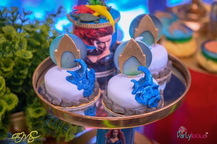 Mini Aquaman-inspired Cakes from an Aquaman and Princess Mera Birthday Party on Kara's Party Ideas   KarasPartyIdeas.com (24)