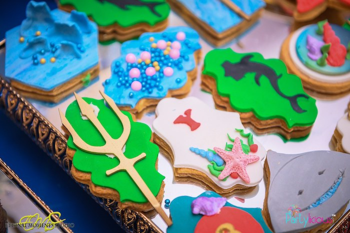 Under the Sea Cookies from an Aquaman and Princess Mera Birthday Party on Kara's Party Ideas | KarasPartyIdeas.com (23)