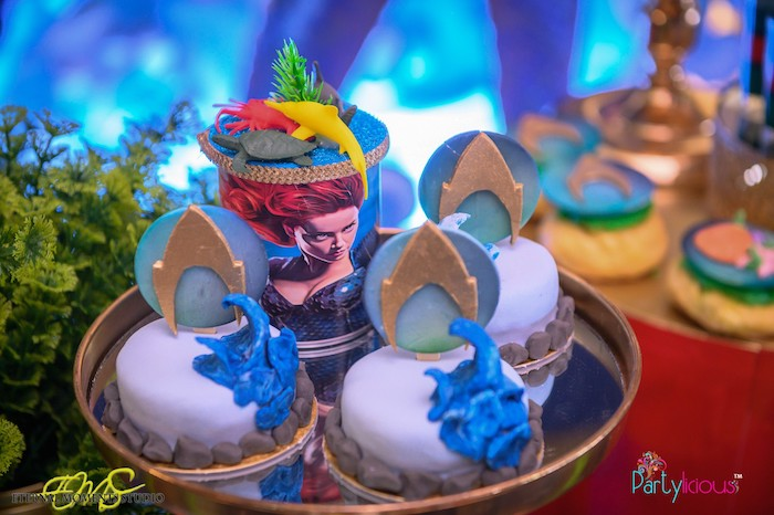 Mini Aquaman Cakes from an Aquaman and Princess Mera Birthday Party on Kara's Party Ideas   KarasPartyIdeas.com (12)