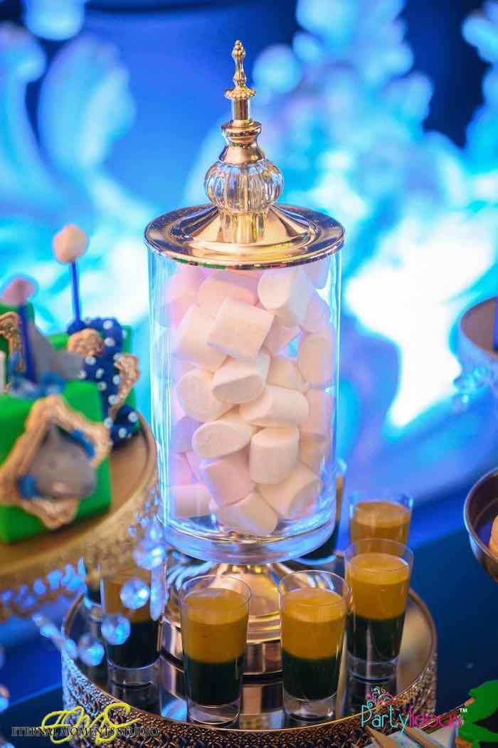 Marshmallows in a Gold Apothecary Jar from an Aquaman and Princess Mera Birthday Party via Kara's Party Ideas   KarasPartyIdeas.com