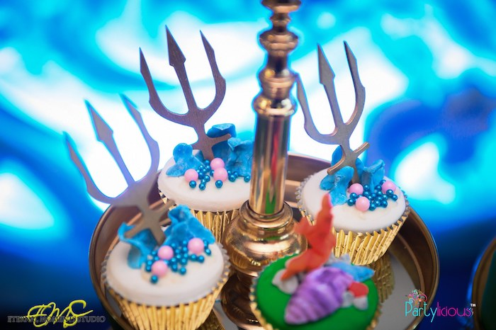 Trident Cupcakes from an Aquaman and Princess Mera Birthday Party on Kara's Party Ideas | KarasPartyIdeas.com (9)