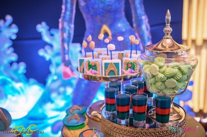 Dessert Pedestals from an Aquaman and Princess Mera Birthday Party on Kara's Party Ideas | KarasPartyIdeas.com (6)