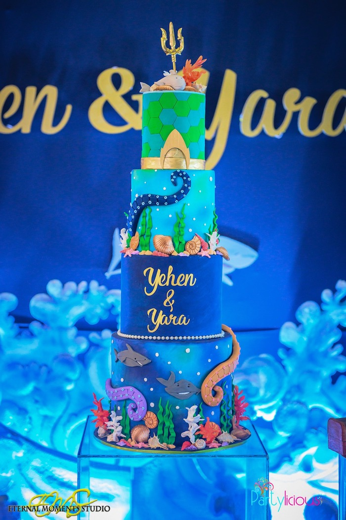 Under the Sea Aquaman Cake from an Aquaman and Princess Mera Birthday Party on Kara's Party Ideas   KarasPartyIdeas.com (44)