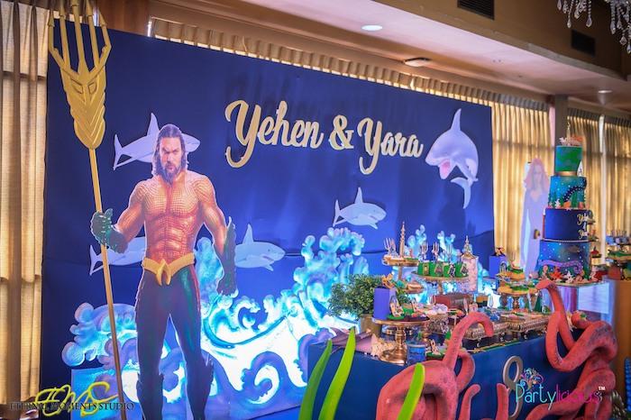 Aquaman + Under the Sea Backdrop from an Aquaman and Princess Mera Birthday Party on Kara's Party Ideas   KarasPartyIdeas.com (43)