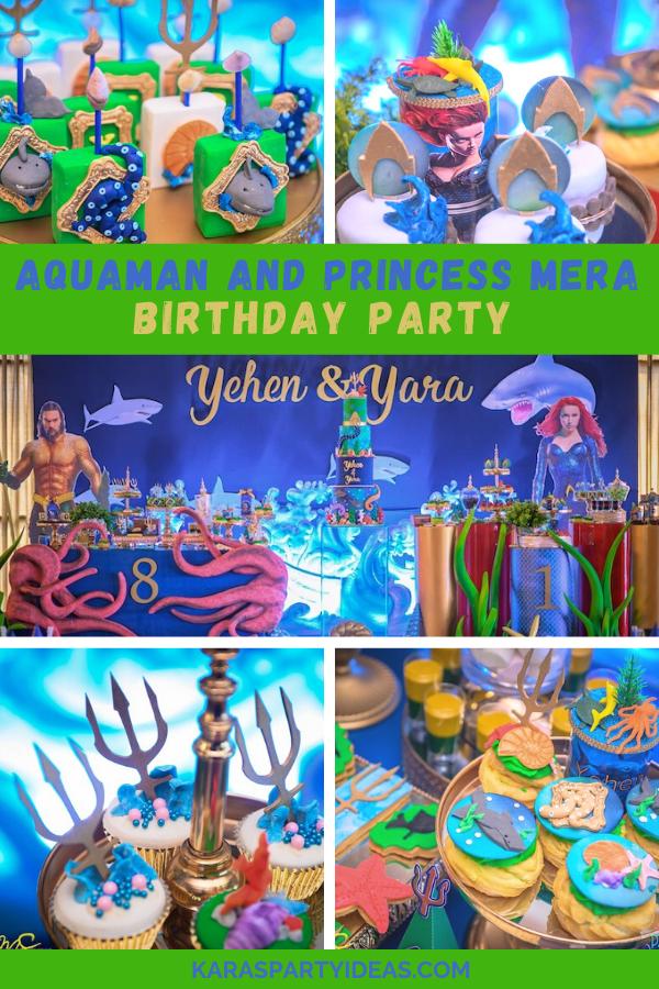 Aquaman and Princess Mera Birthday Party via Kara's Party Ideas - KarasPartyIdeas.com