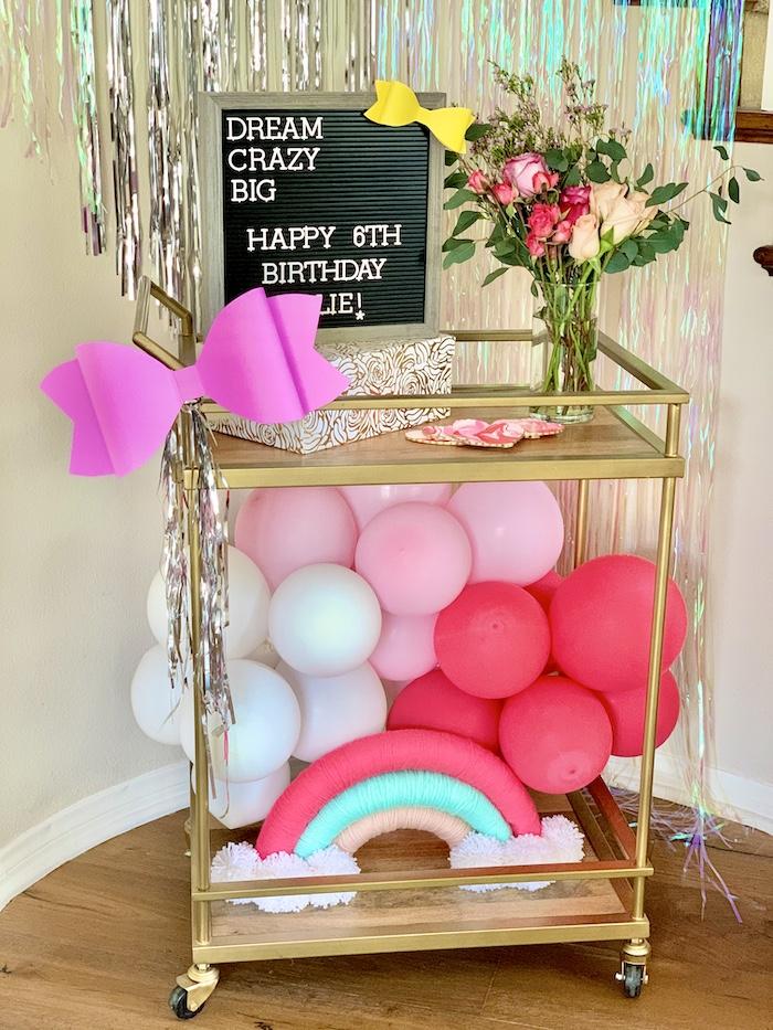 Bar Cart de una fiesta de cumpleaños de Jojo Siwa Dream Big on Kara's Party Ideas | KarasPartyIdeas.com