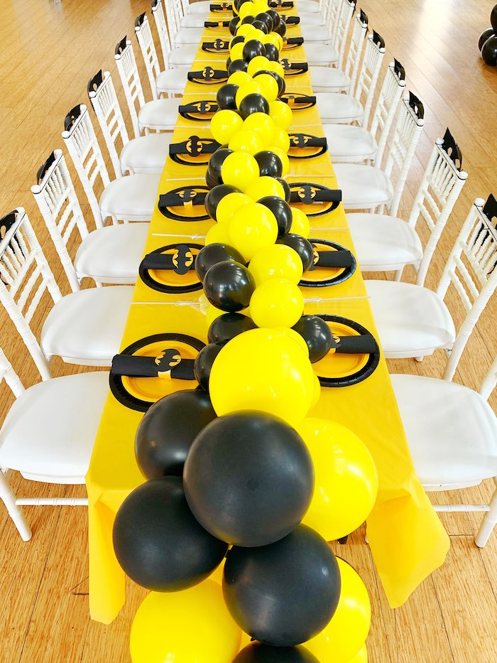 Batman Themed Guest Table from a Batman Birthday Party on Kara's Party Ideas | KarasPartyIdeas.com (7)