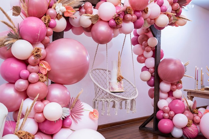 Macrame Cake Swing + Balloon Arch from a Bohemian Chic Baby Shower on Kara's Party Ideas | KarasPartyIdeas.com (25)