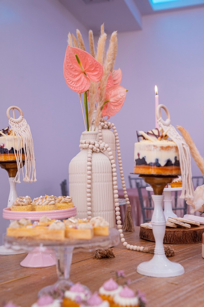 Sweet Table from a Bohemian Chic Baby Shower on Kara's Party Ideas | KarasPartyIdeas.com (24)