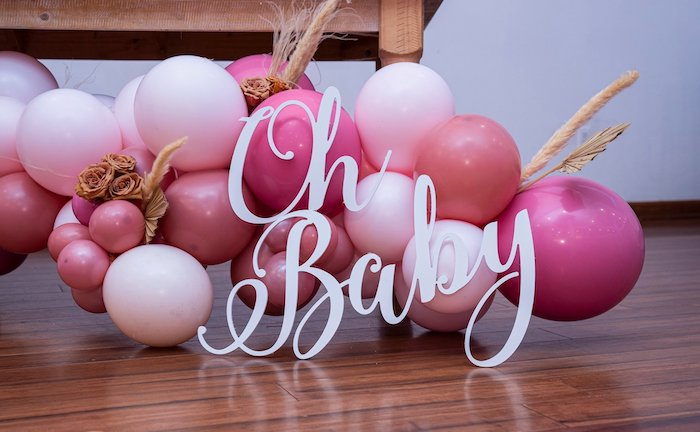Oh Baby Balloon Garland + Install from a Bohemian Chic Baby Shower on Kara's Party Ideas | KarasPartyIdeas.com (23)