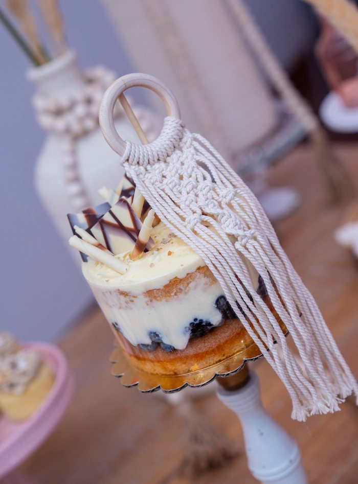 Pedestaled Mini Cake with Macrame Topper from a Bohemian Chic Baby Shower on Kara's Party Ideas | KarasPartyIdeas.com (20)