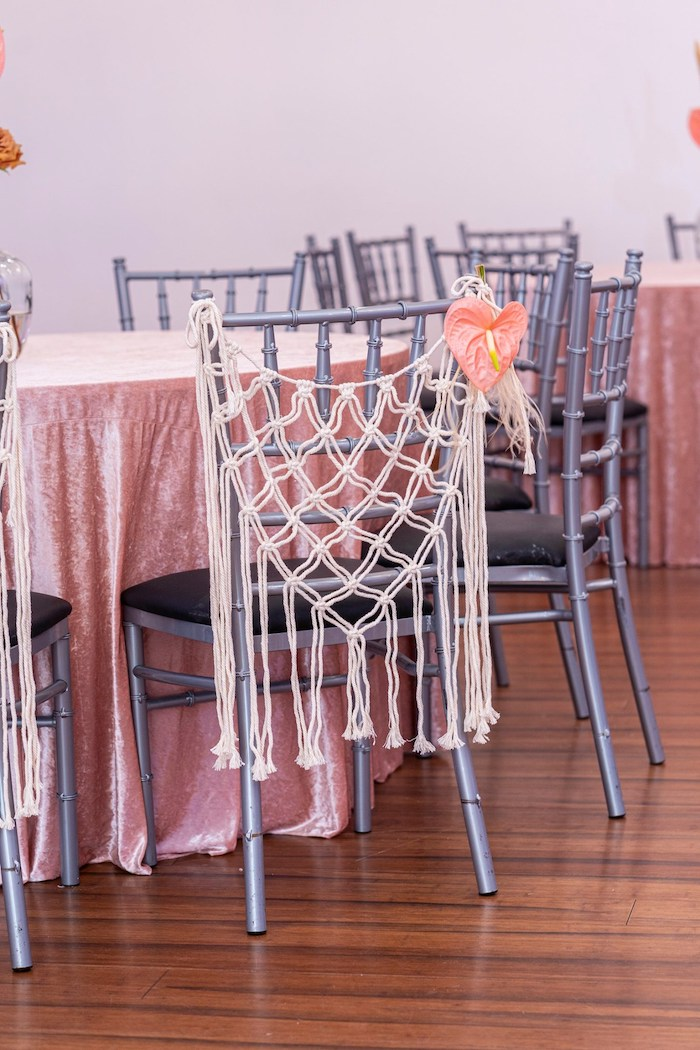 Macrame Chair Cover from a Bohemian Chic Baby Shower on Kara's Party Ideas | KarasPartyIdeas.com (14)