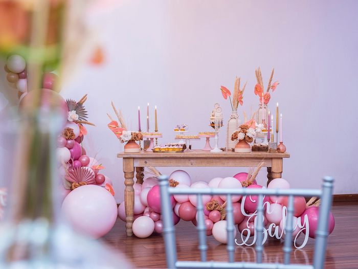 Boho Sweet Table from a Bohemian Chic Baby Shower on Kara's Party Ideas | KarasPartyIdeas.com (12)