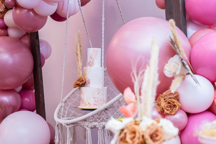 Suspended Boho Cake from a Bohemian Chic Baby Shower on Kara's Party Ideas | KarasPartyIdeas.com (10)