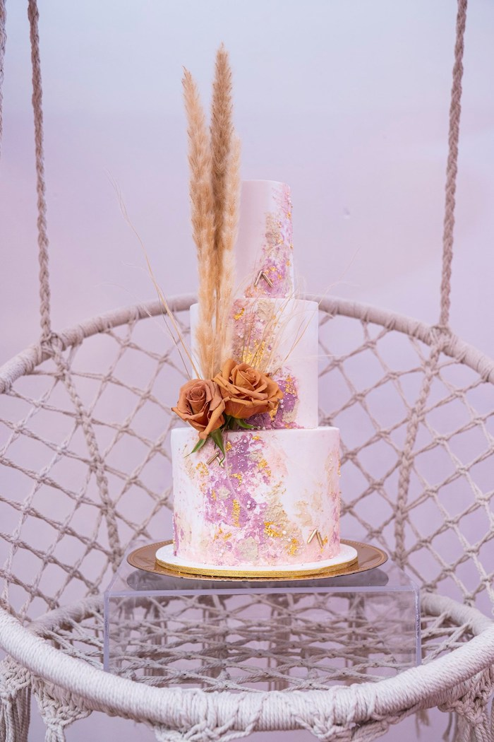 Bohemian Themed Cake from a Bohemian Chic Baby Shower on Kara's Party Ideas | KarasPartyIdeas.com (28)