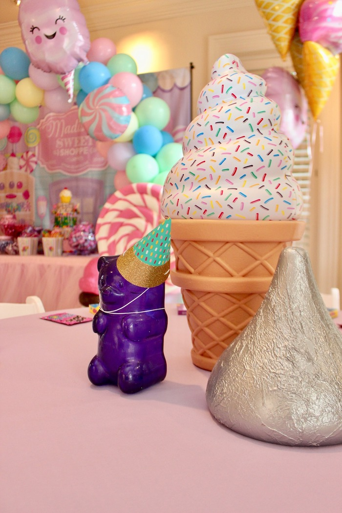 Ice Cream Cone, Gummy Bear and Kiss Table Centerpieces from a Candyland Birthday Party on Kara's Party Ideas | KarasPartyIdeas.com (7)