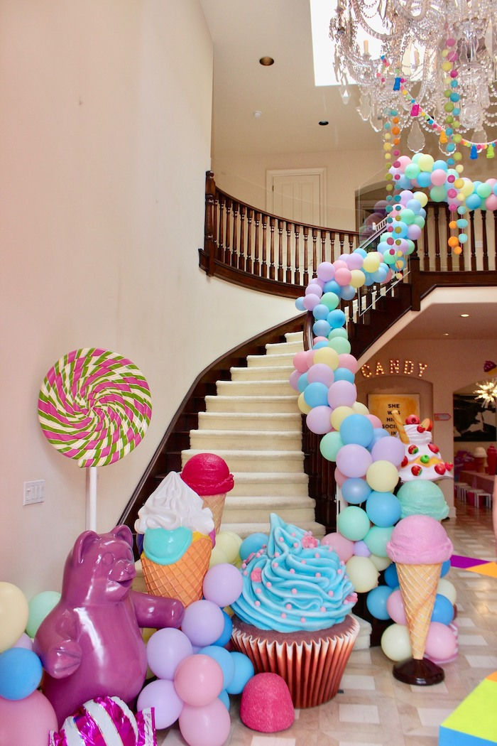 Candy/Sweet Themed Balloon Garland from a Candyland Birthday Party on Kara's Party Ideas | KarasPartyIdeas.com (23)