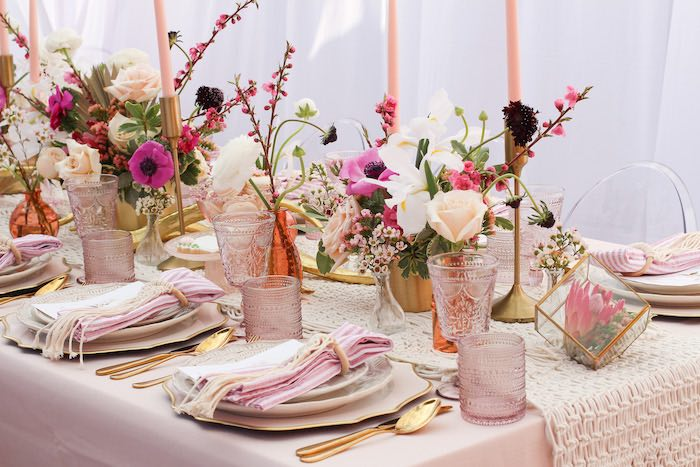 Boho Glam Guest Tablescape from a Celebrate Your Tribe Birthday Luncheon on Kara's Party Ideas | KarasPartyIdeas.com (35)