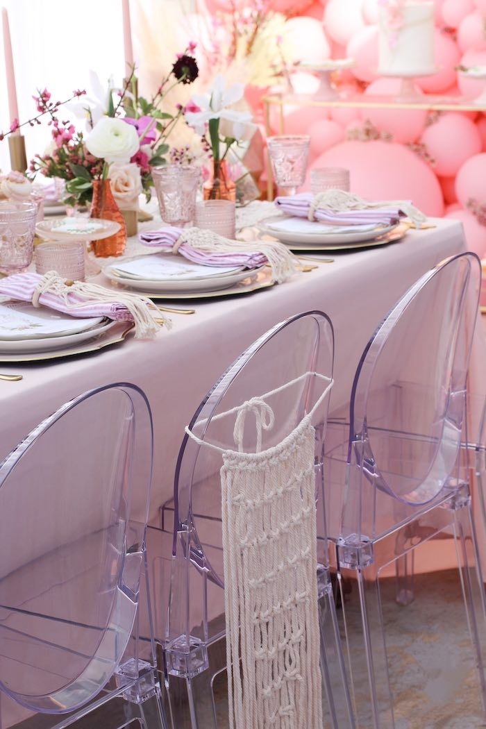 Ghost Chairs with Macrame Covers from a Celebrate Your Tribe Birthday Luncheon on Kara's Party Ideas | KarasPartyIdeas.com (31)