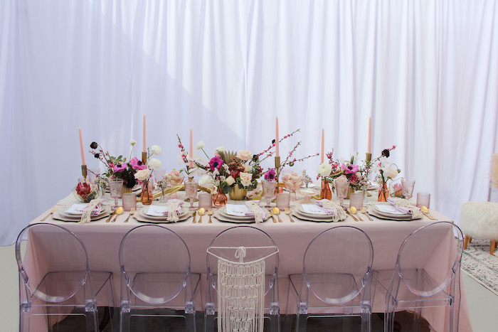 Boho Glam Guest Table from a Celebrate Your Tribe Birthday Luncheon on Kara's Party Ideas | KarasPartyIdeas.com (45)