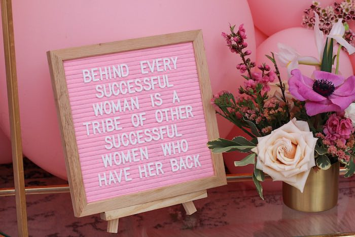 Pink Letter Board Sign from a Celebrate Your Tribe Birthday Luncheon on Kara's Party Ideas | KarasPartyIdeas.com (26)
