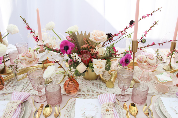 Floral Centerpiece from a Celebrate Your Tribe Birthday Luncheon on Kara's Party Ideas | KarasPartyIdeas.com (44)