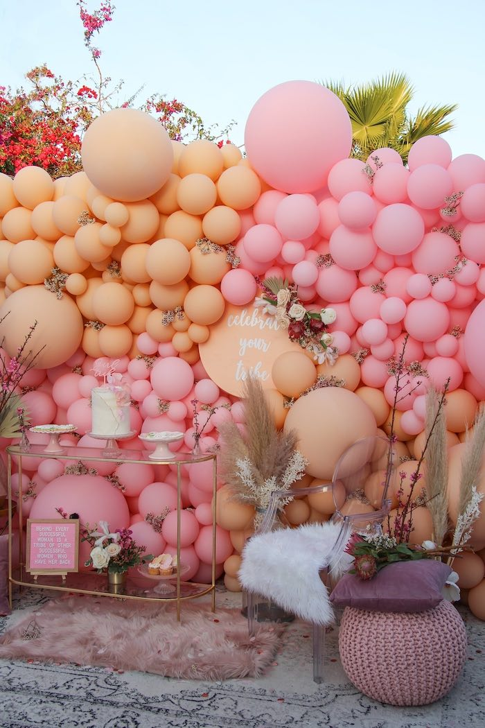 Boho Glam Balloon Dessert Spread from a Celebrate Your Tribe Birthday Luncheon on Kara's Party Ideas | KarasPartyIdeas.com (16)