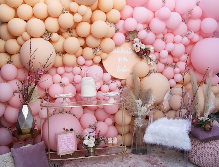 Boho Glam Balloon Dessert Spread from a Celebrate Your Tribe Birthday Luncheon on Kara's Party Ideas | KarasPartyIdeas.com (14)