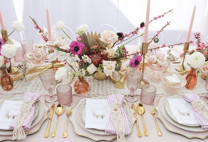 Boho Glam Guest Table + Table Settings from a Celebrate Your Tribe Birthday Luncheon on Kara's Party Ideas | KarasPartyIdeas.com (43)