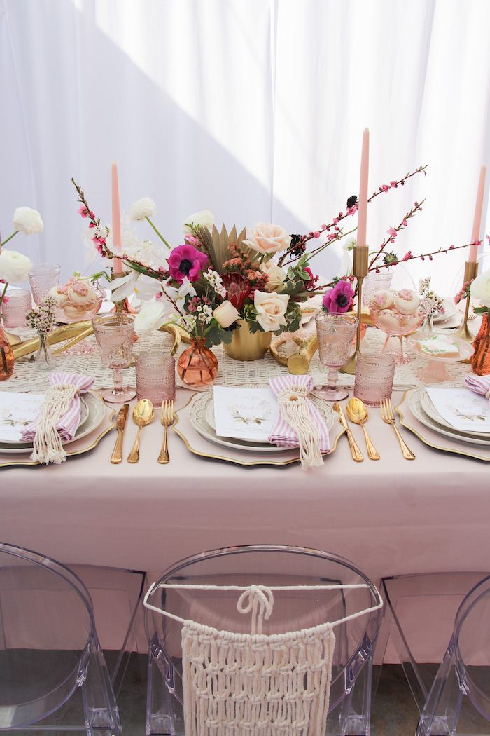 Boho Glam Guest Table from a Celebrate Your Tribe Birthday Luncheon on Kara's Party Ideas | KarasPartyIdeas.com (42)