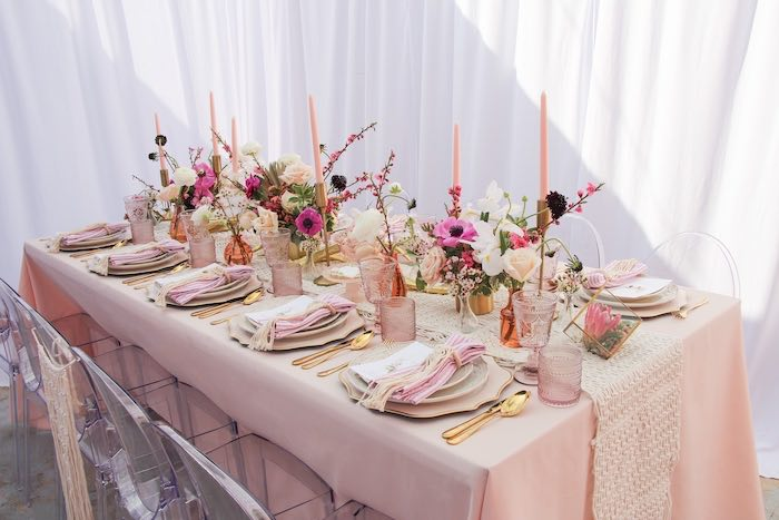 Boho Glam Guest Table from a Celebrate Your Tribe Birthday Luncheon on Kara's Party Ideas | KarasPartyIdeas.com (40)