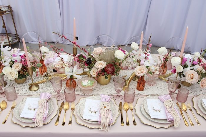 Boho Glam Guest Tablescape from a Celebrate Your Tribe Birthday Luncheon on Kara's Party Ideas | KarasPartyIdeas.com (37)
