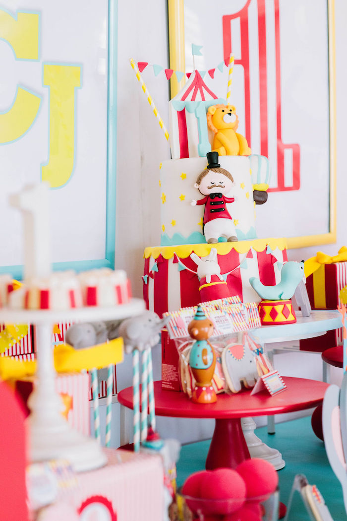 Circus Cake from a Circus Birthday Party on Kara's Party Ideas | KarasPartyIdeas.com (14)