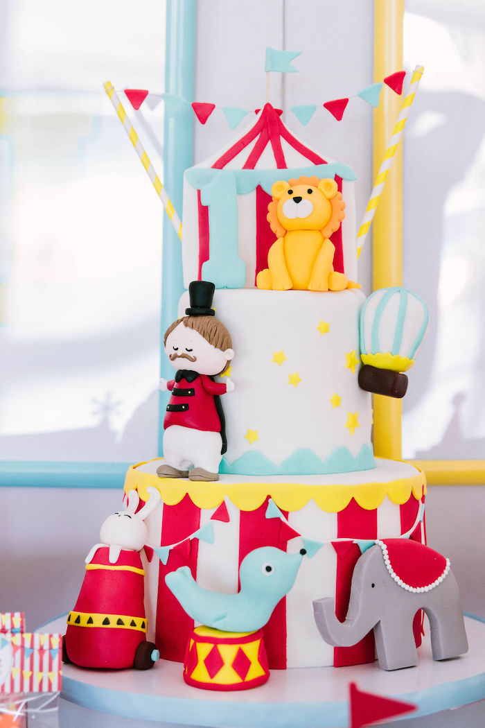 Circus Cake from a Circus Party on Kara's Party Ideas | KarasPartyIdeas.com (13)