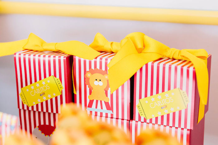 Red + White Striped Circus Favor Boxes from a Circus Party on Kara's Party Ideas | KarasPartyIdeas.com (9)