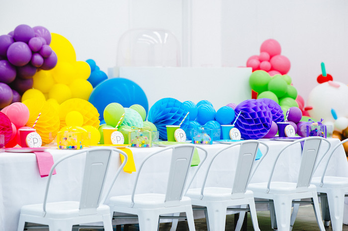 Rainbow Guest Table from a Confetti & Sprinkles Birthday Party on Kara's Party Ideas | KarasPartyIdeas.com (30)