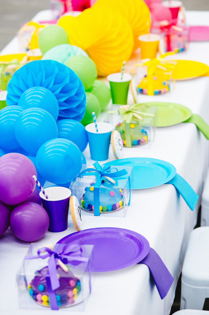 Rainbow Guest Table + Table Settings from a Confetti & Sprinkles Birthday Party on Kara's Party Ideas | KarasPartyIdeas.com (24)
