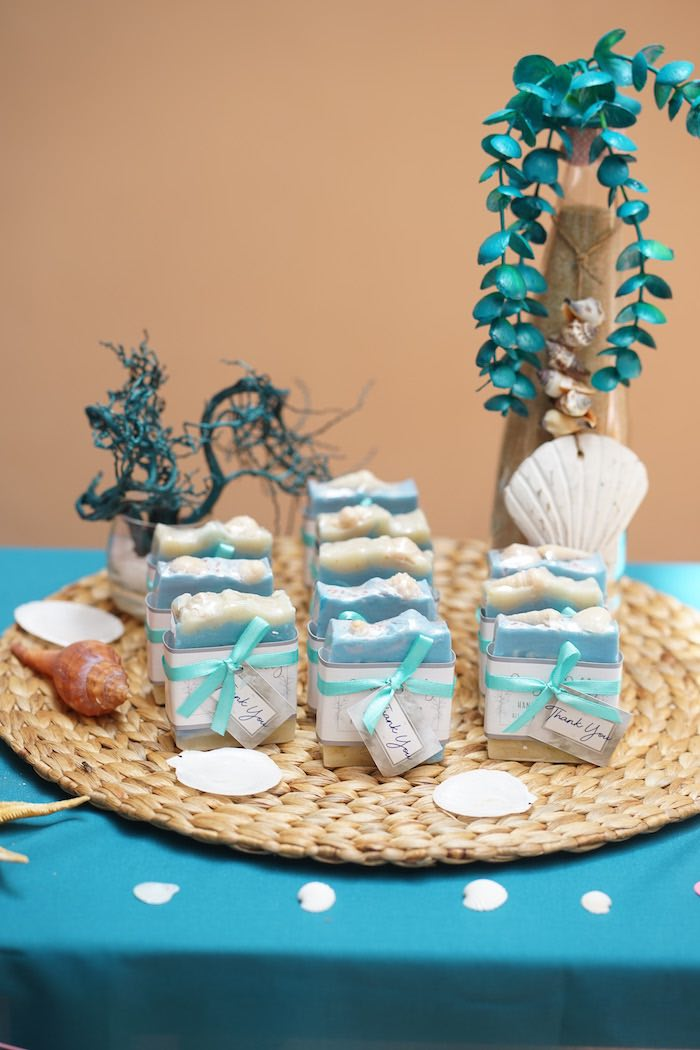 Soap Favors from a Coral Reef Mermaid Birthday Shell-abration on Kara's Party Ideas | KarasPartyIdeas.com (21)