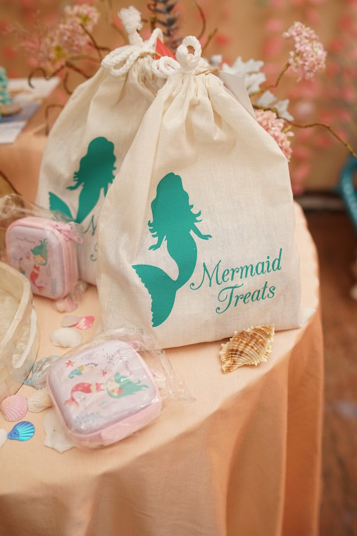 Drawstring Mermaid Treat Bag from a Coral Reef Mermaid Birthday Shell-abration on Kara's Party Ideas | KarasPartyIdeas.com (19)