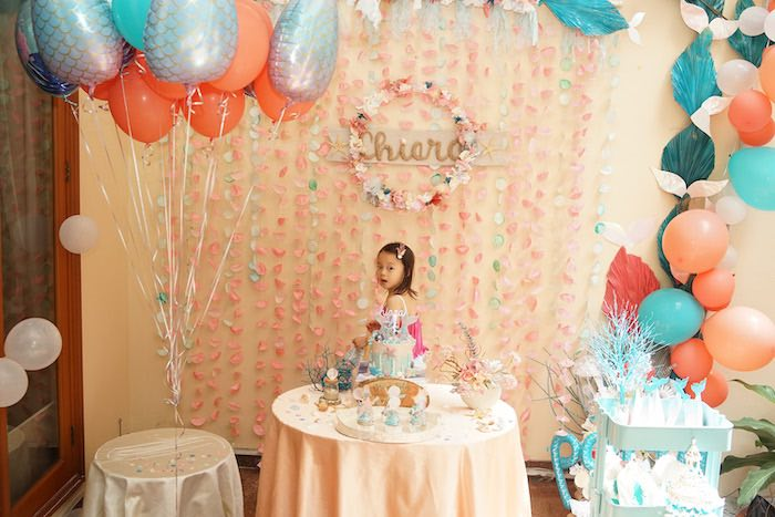 Sweet Table from a Coral Reef Mermaid Birthday Shell-abration on Kara's Party Ideas | KarasPartyIdeas.com (18)