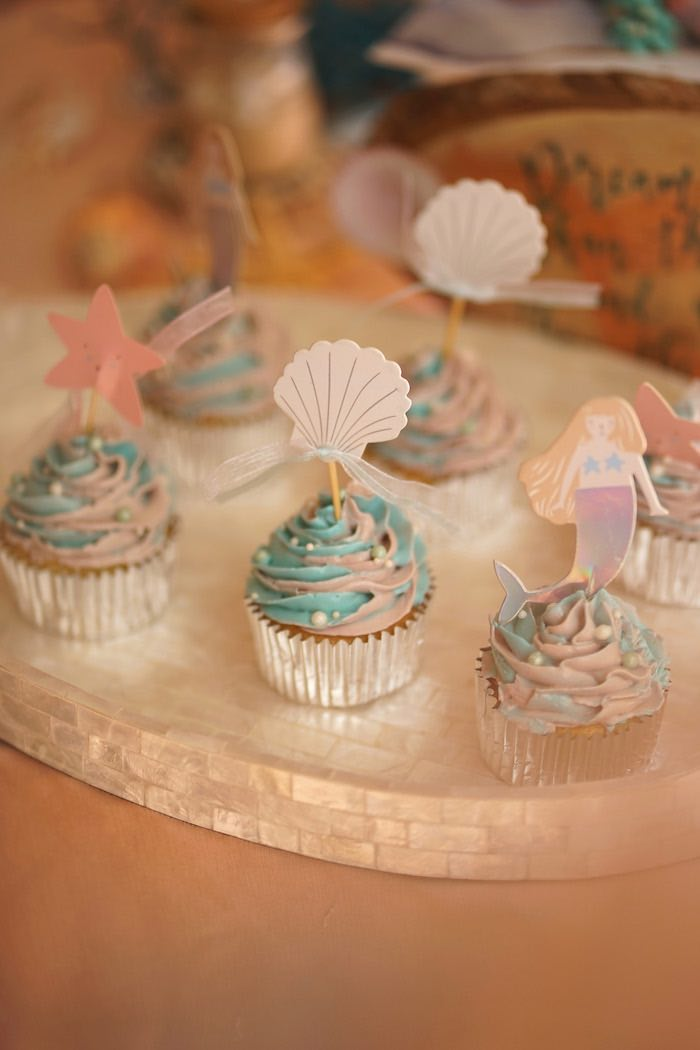 Sea Themed Cupcakes from a Coral Reef Mermaid Birthday Shell-abration on Kara's Party Ideas | KarasPartyIdeas.com (16)