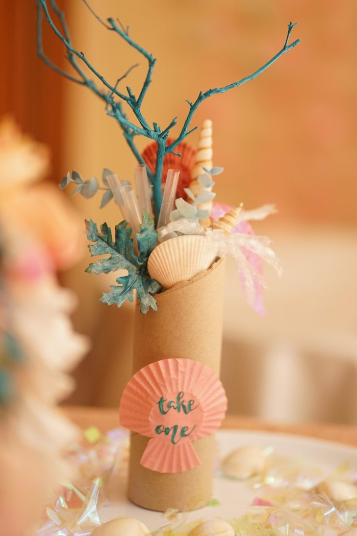 Floral Sea Shell Centerpiece from a Coral Reef Mermaid Birthday Shell-abration on Kara's Party Ideas | KarasPartyIdeas.com (15)